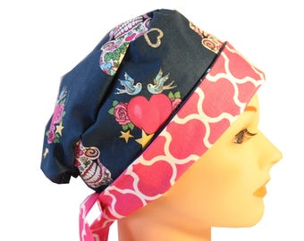 Scrub Hat Surgical Scrub Cap Chemo Hat Tie Back / Flirty Front Fold Pixie Glitter Skull Pink Quaterfoil 2nd Item Ships FREE