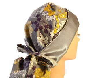 Surgical Scrub Hat Scrub Chef Vet Chemo Cap Front Fold Ponytail Scrub Hat SATIN LINED Grey Yellow Purple Floral 2nd item ships Free