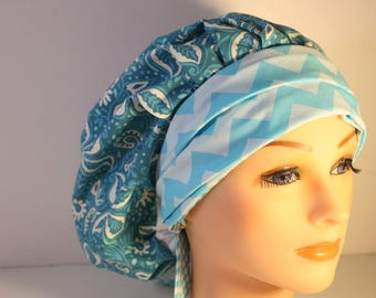 Scrub Cap Surgical Medical Chemo Chef Vet Doctor Nurse Hat Banded Bouffant Tie Back Clean Ceil Floral  Blue Chevron 2nd Item Ships FREE