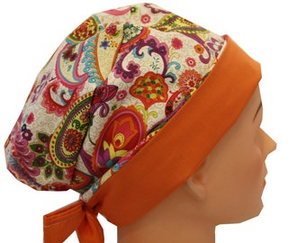 Scrub Hat Surgical Scrub Cap Chef Nurse Dr Chemo Hat Flirty Front Fold Pixie Purple Orange Paisley 2nd Item Ships FREE