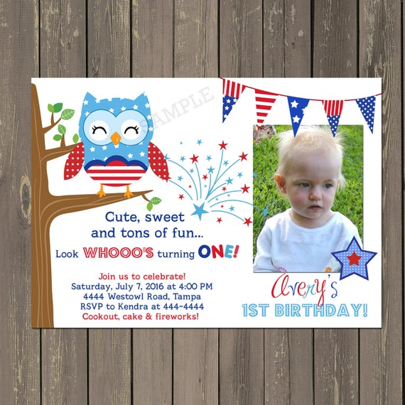 July 4th Birthday Invitation Owl Red White And Blue 1st Printable Or Printed