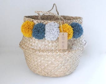Basket Thai 45cm tassel curry yellow, Teal and gray Pearl