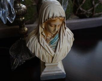 FREE SHIPPING, Vintage, Chalkware Madonna Bust