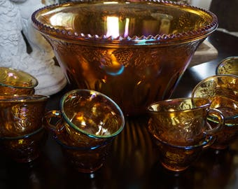 Vintage, Amber Carnival Glass Punch Bowl with Twelve Cups