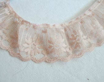 "Tan colored ruffled lace 5 yards 21 inches and  1 3/4"" wide for crafts and sewing"