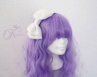 Lolita Hair Bow Chiffon (white)