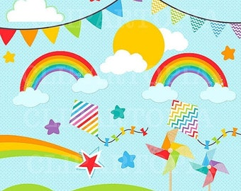 50% OFF SALE Rainbow Clipart For Personal and Commercial Use