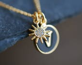 Sunshine . Letter Sun Necklace / inspirational gift ideas for her / personalized necklace / personalized mothers day gift