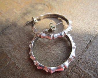 Taxco Sterling Bamboo Hoop Earrings