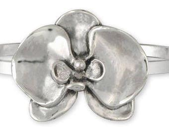 Orchid Jewelry Sterling Silver Orchid Bracelet Handmade Flower Jewelry OR4-CB