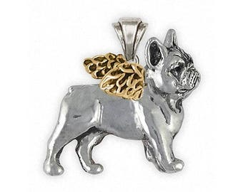 Frenchie French Bulldog Jewelry Silver And Gold Frenchie French Bulldog Pendant Handmade Dog Jewelry FR29-TNAP