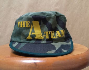 Vintage The A-Team Camouflage Box Hat Promo Mr. T 1983