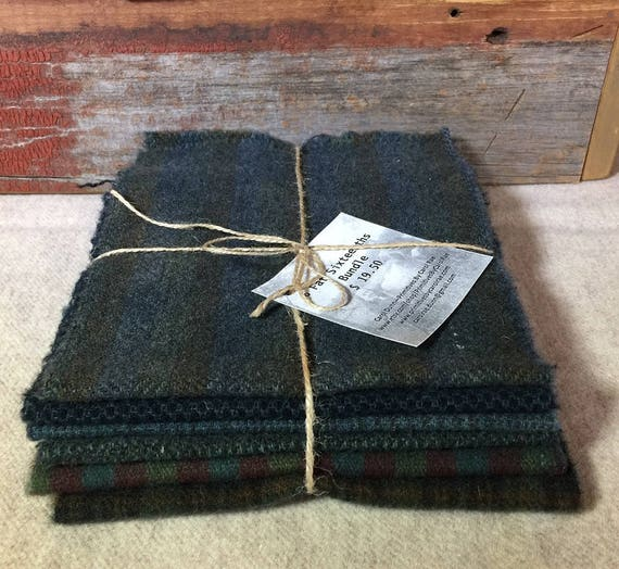 Dark Blue Green,Hand-Dyed Wool,Rug Hooking, Applique, Penny Rugs, Quilting,(6) One Sixteenth Yard Pieces of Stormy Seas W318