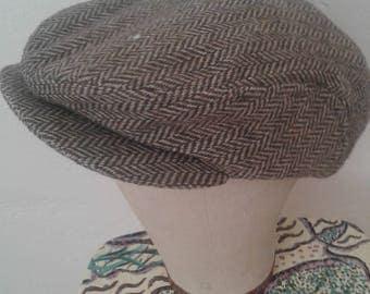 Vtg 80's Hatterdashery Wool Herringbone Tweed Sports Snap Cap
