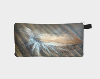 Pencil Case, Brown Pouch, Pencil Pouch, Make Up Bag, Feather Pouch, Small Bag, Zipper Pouch, pencil bag, Cosmetic Bag, Small Pouch