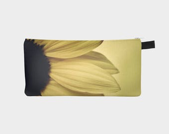 Floral Pencil Case, Yellow Pouch, Pencil Pouch, Make Up Bag, Flower Pouch, Small Bag, Zipper Pouch, pencil bag, Cosmetic Bag, Small Pouch