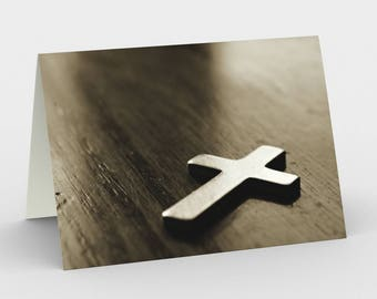 Christian Cross Card, Blank Note cards, Sepia Note Cards, Greeting Cards, Three Note Cards, 5x7 Cards, Christian Card, All Occasion Cards
