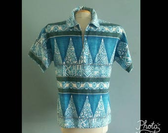 1960s blue tapa print Hawaiian shirt
