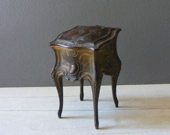 Antique French Footed Gilded Spelter Trinket Box.