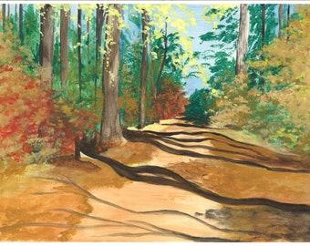 Original art acrylic on paper - Birmingham Botanical Gardens painting