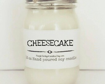 Cheesecake candle, 16 oz soy Candle, vegan candle, fall candle, halloween, birthday gift, Fall scent, bakery scent, bridesmaid, wedding, soy