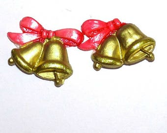 Cabochon Golden bells and pink bow for creation on Easter theme to create decorative ornament jewelry