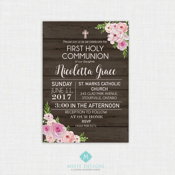 Rustic Floral Baptism Invitation- Girl Baptism Invitation - Baby Dedication, First Communion, Confirmation, Christening - Printable template