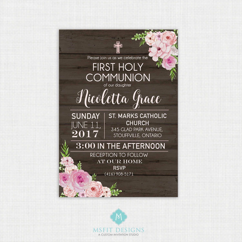 Rustic Floral Baptism Invitation- Girl Baptism Invitation - Baby ...