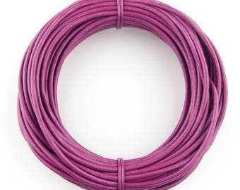 Magenta Round Leather Cord 2mm 25 meters (27.34 yards)
