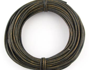 Green Military Distressed Round Leather Cord 1mm 10 Feet