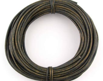 Green Military Distressed Round Leather Cord 3mm 10 meters (11 yards)
