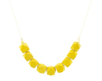 Yellow colored wood and gold bead chain necklace - Summer necklace - Anniversary gift idea