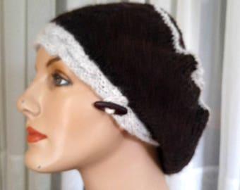 Hand-knit all-natural black light gray alpaca tam   beret with cabled band   alpaca hat in black and gray   light weight tam   luxury alpaca