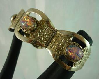 Gorgeous Vintage Mexico Sterling Faux Fire Opal Bracelet