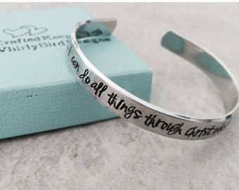 Sale SALE I can do all things through Christ who strengthens me personalized cuff bracelet Philippians 4:13