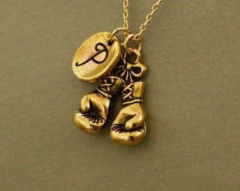 Antique small gold Boxing Glove Necklace Pendant - Boxing glove necklace pendant -  fighters necklace pendant