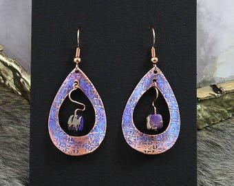 Copper with Purple Imperial Jasper Earrings - Handmade