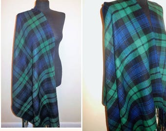 Shawl Plaid Green Blue Scottish Style Blanket Pashmina Shoulder Wrap Extra Large Scarf Fringed Cover up Vintage