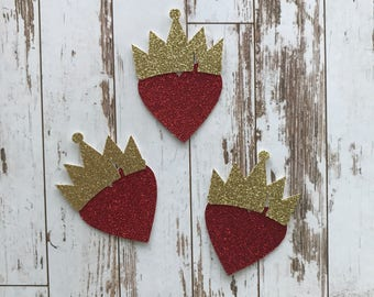 12 pcs Descendants 2 Evie Crown and Heart - Glitter Die Cut/Party Decorations/Embellishment/ Table Scatter/Cupcake Topper
