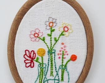 Flowers in 3 vases. Handembroidered embroidery in embroidery, handembroidery hoopart, embroidery art