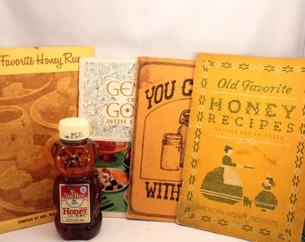 Lot of 4 Vintage Honey Cookbook Pamphlets Softcover Bee Keeper Supply