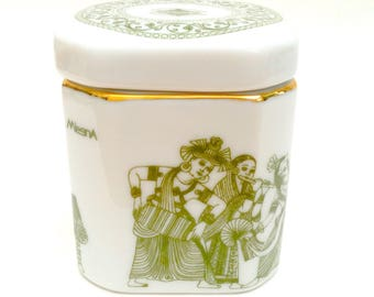 Mlesna Ceramic Lidded Tea Caddy, White and Green, Ceylon/Sri Lanka