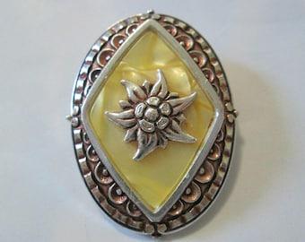 Oval Flower Scarf Clip. Faux MOP.