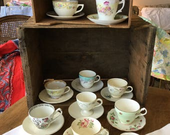 Mix and match cups and saucers, set of 12 each, 12 napkins, tea party set