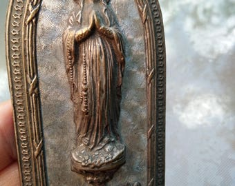 French antique religious statue bronze gold sculpture  reliquary our lady souvenir Notre dame de Lourdes gothic metal frame