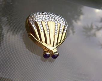 beautiful gold tone metal box pill box  ornate crystal glass beads hand Bag shape hanged box