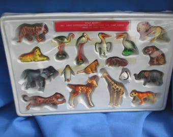 Vintage Shackman Wild Animals Complete Set Made In Hong Kong