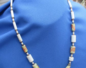 Vintage Colorful Flower White Beaded Necklace TLC