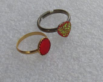 Retro Red Heart Glitter Ring Plus Round Red Costume Ring