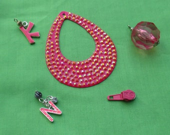 Lot Of Fuchsia & Pink Colored Salvaged Pendants Hoop Bead Dangle